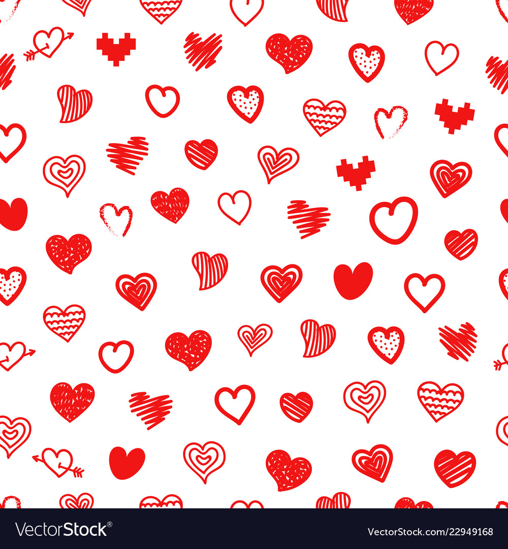 Different sketch style hearts seamless pattern