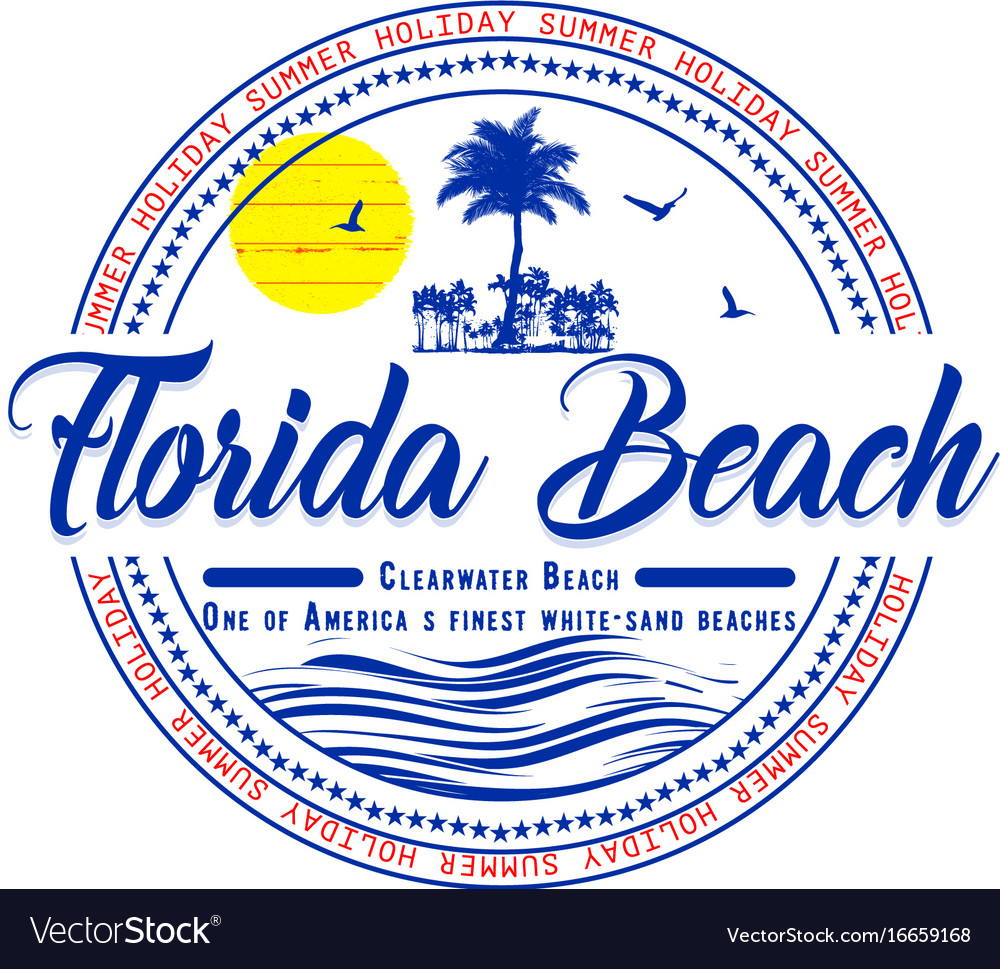 Florida summer t shirt graphic design vector image