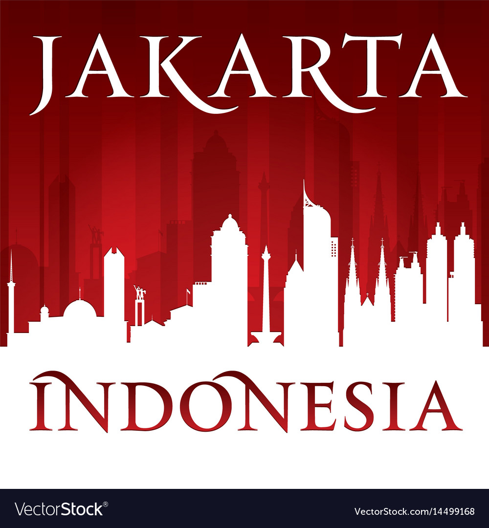 Jakarta indonesia city skyline silhouette red