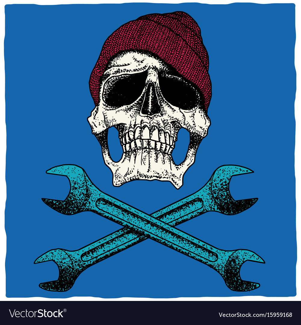 Mechanic skull poster vector image