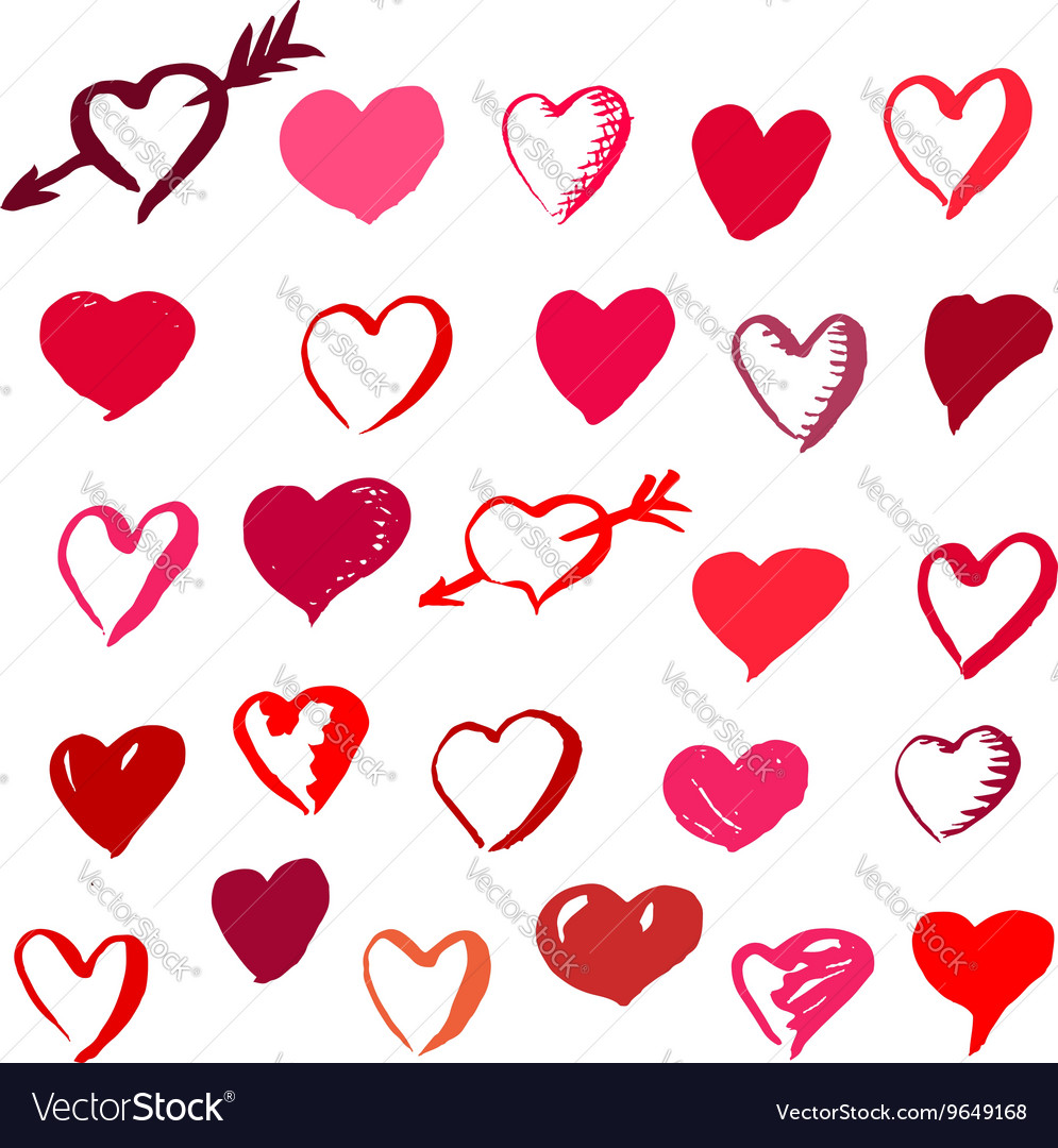Set of Valentines Day brush drawn hearts vector image