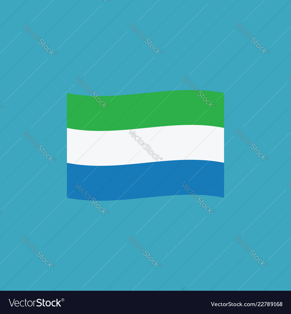 Sierra leone flag icon in flat design