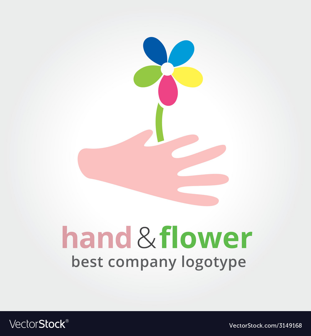 Two hands holding colored flowers nature logotype vector image