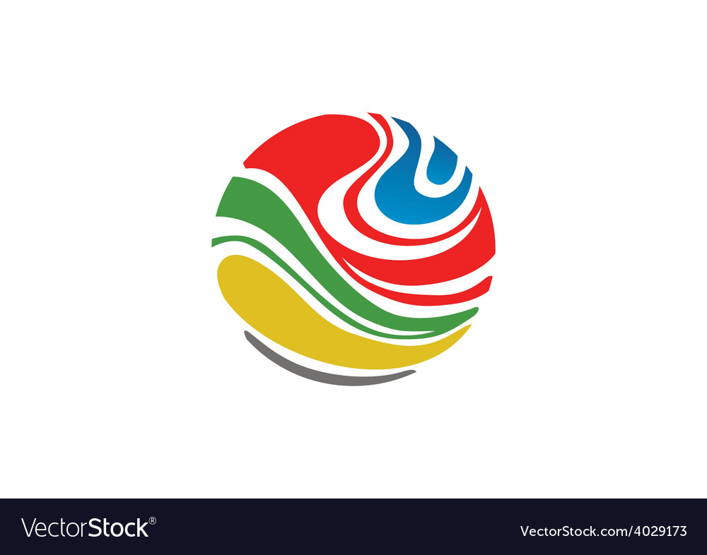 Abstract colorful globe logo vector image