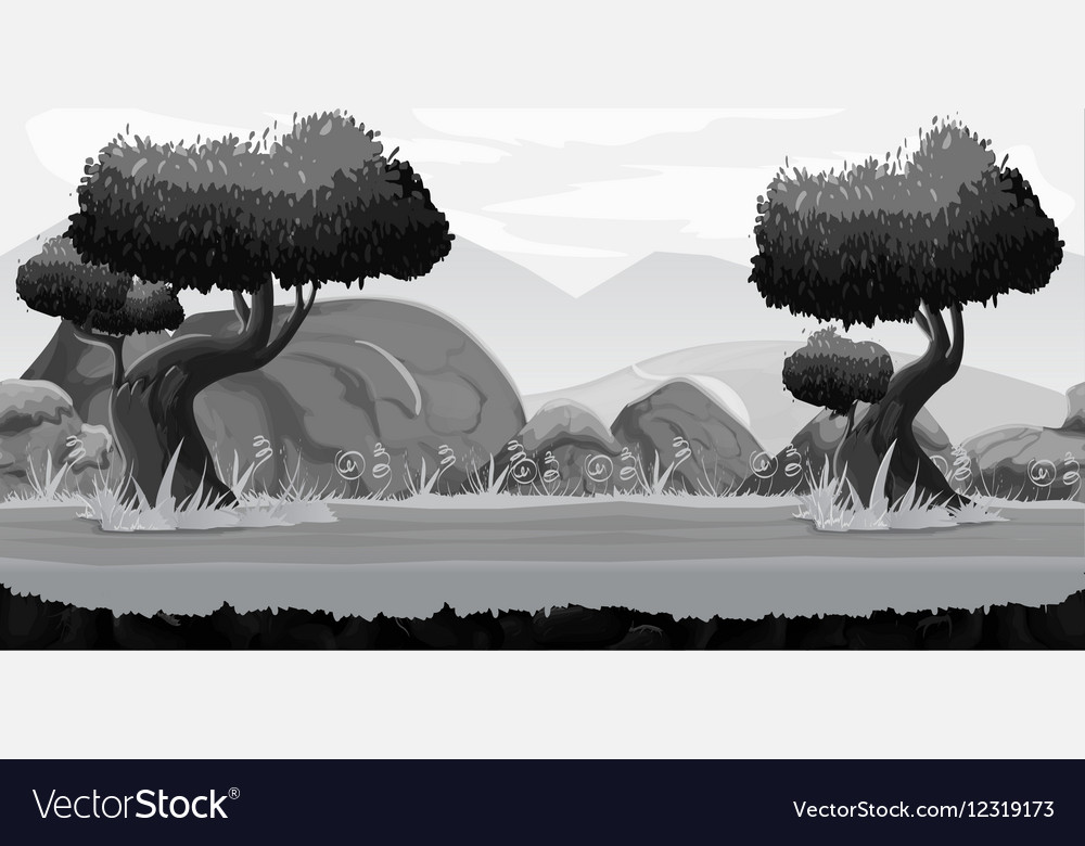Black and White Seamless spring forest landscape