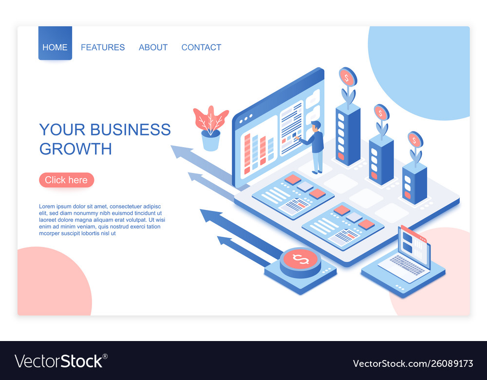 Business development and growth isometric landing