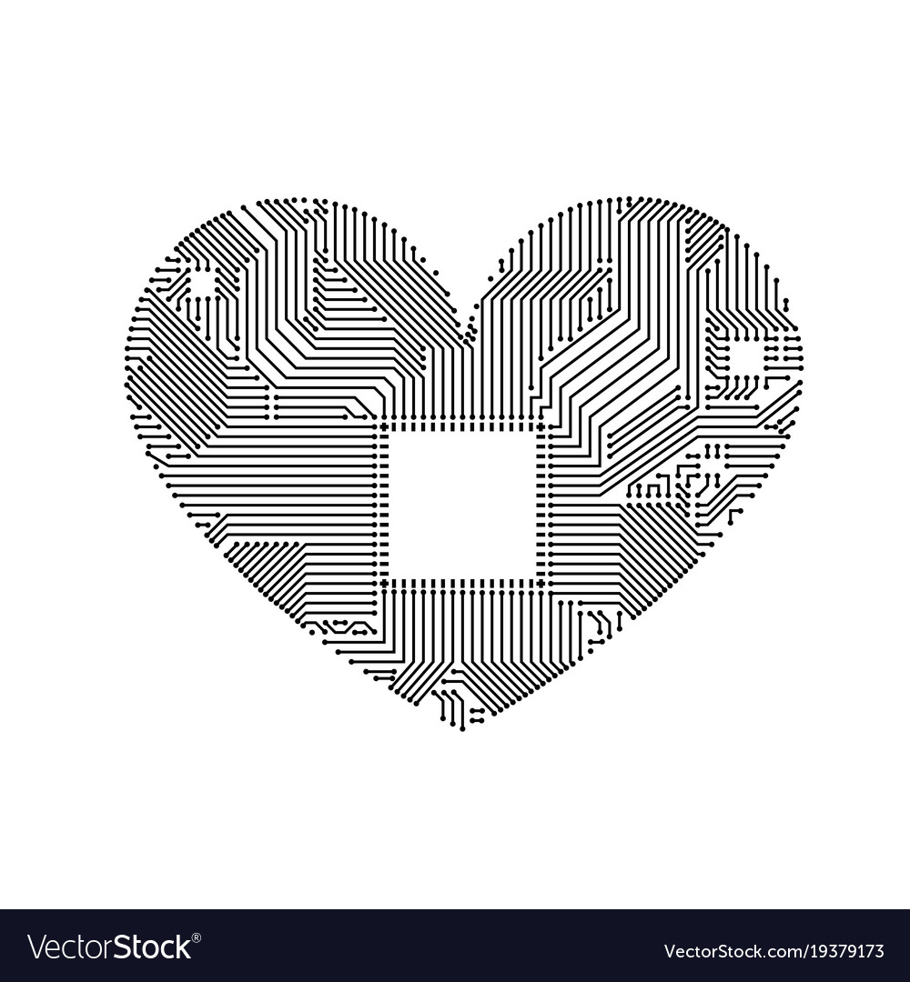 Circuit Board Heart Royalty Free Vector Image Vectorstock Illustration Stock