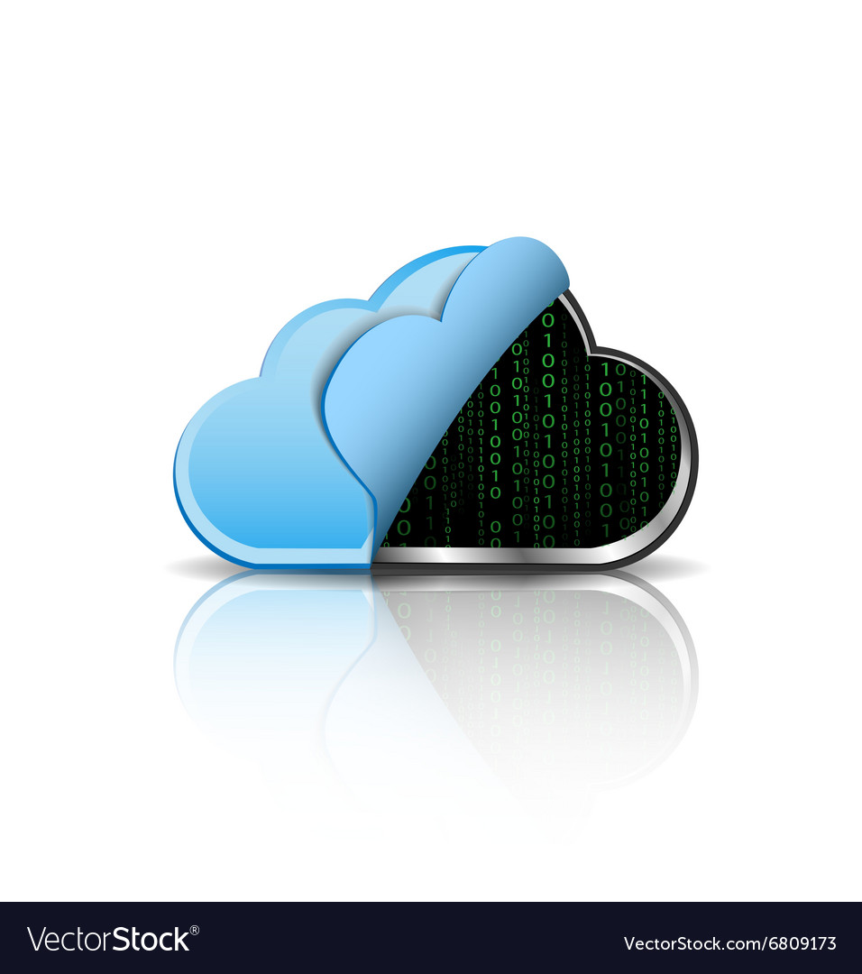 Cloud computing icon with binary code