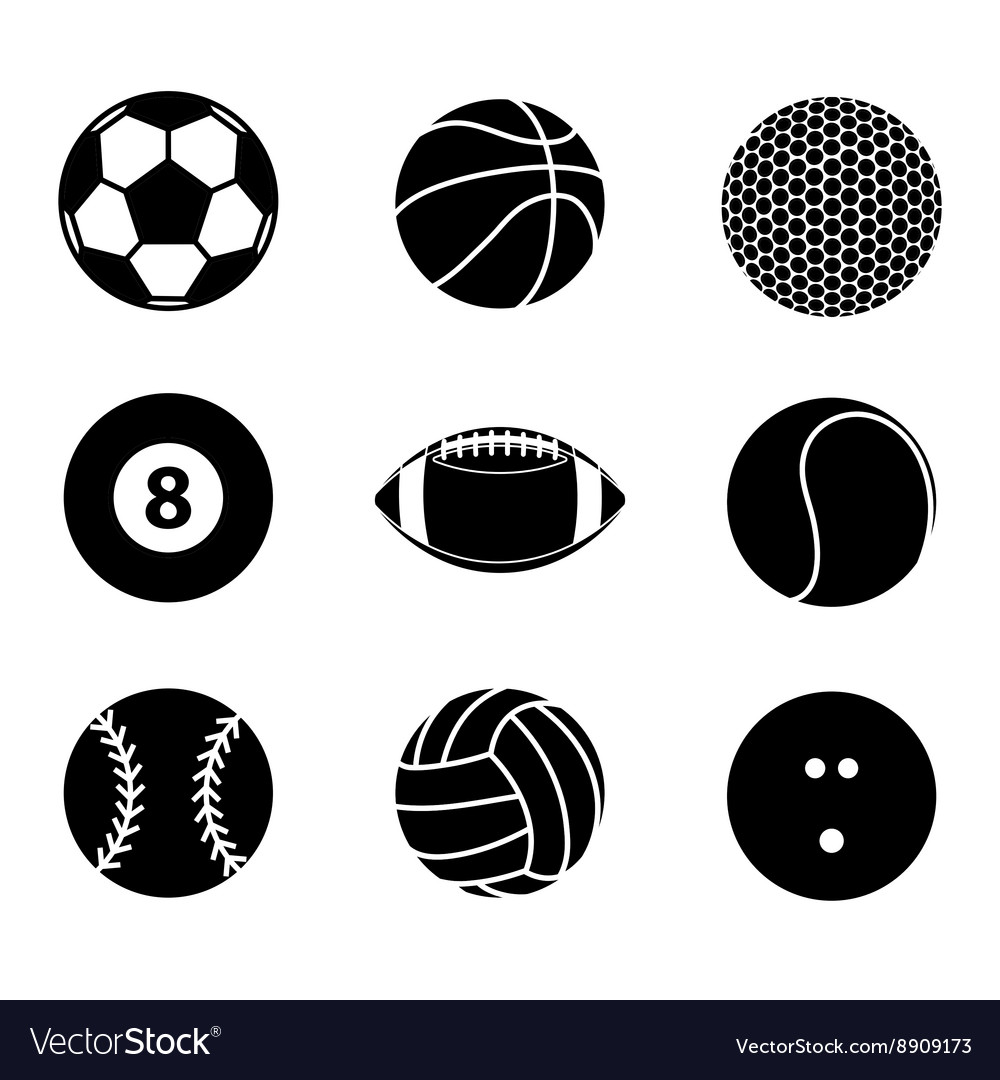 Collection of sport ball icon black and white