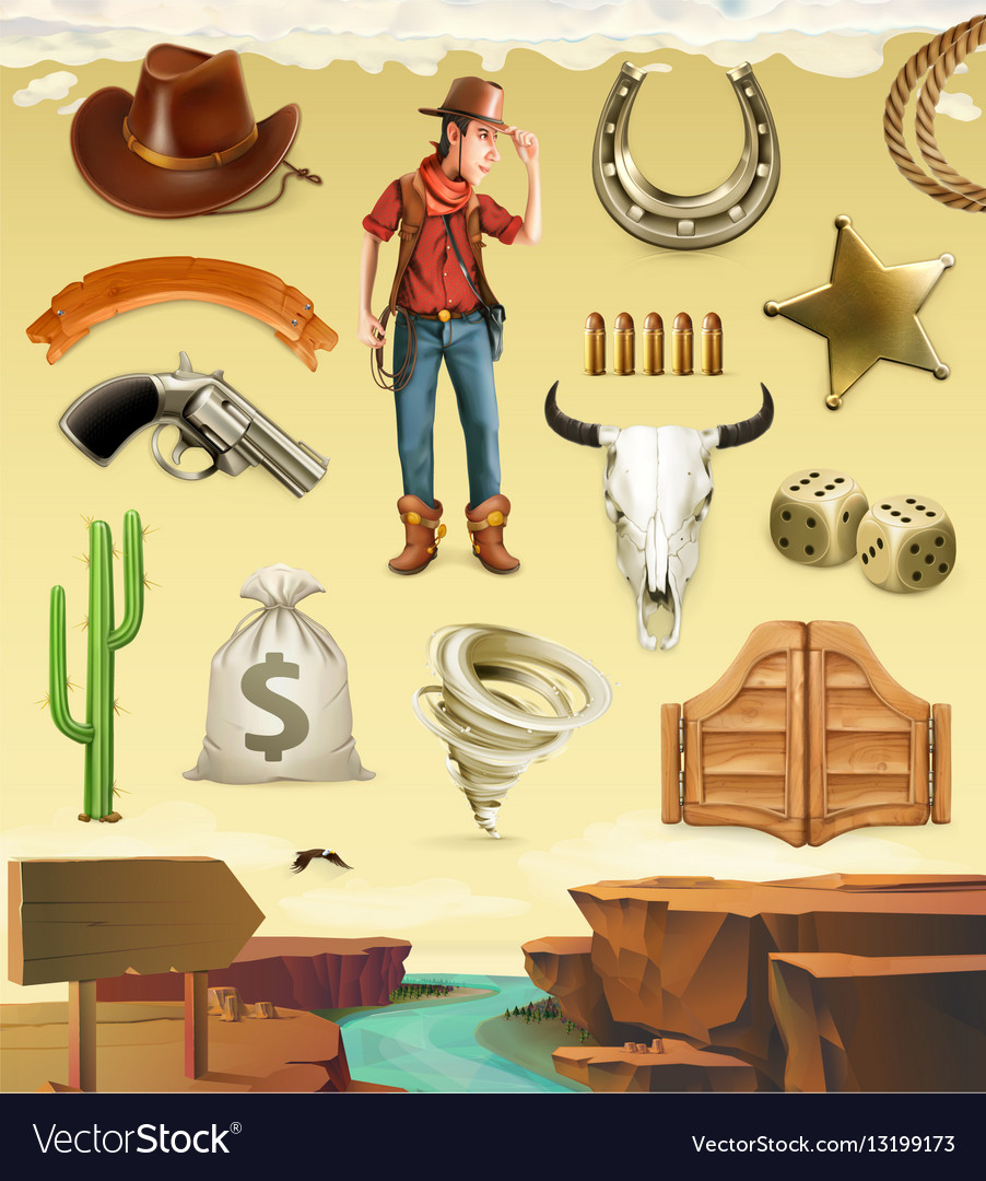 Cowboy cartoon character and objects Western