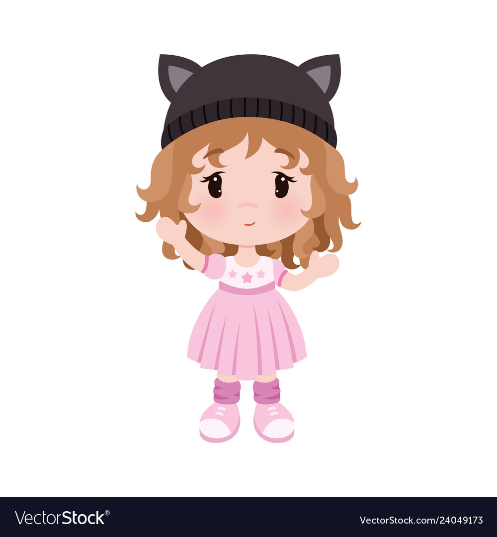 36b0f44b223d Cute little baby girl in dress hat with Royalty Free Vector