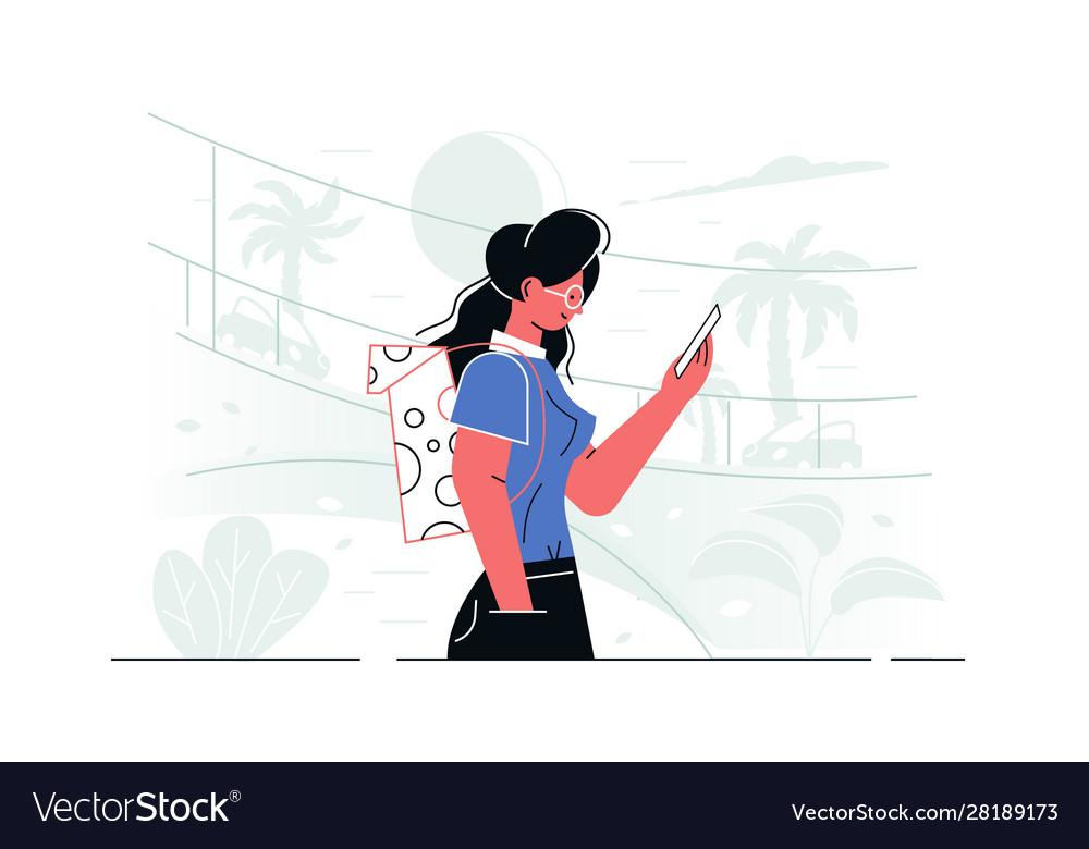 Girl with modern smartphone