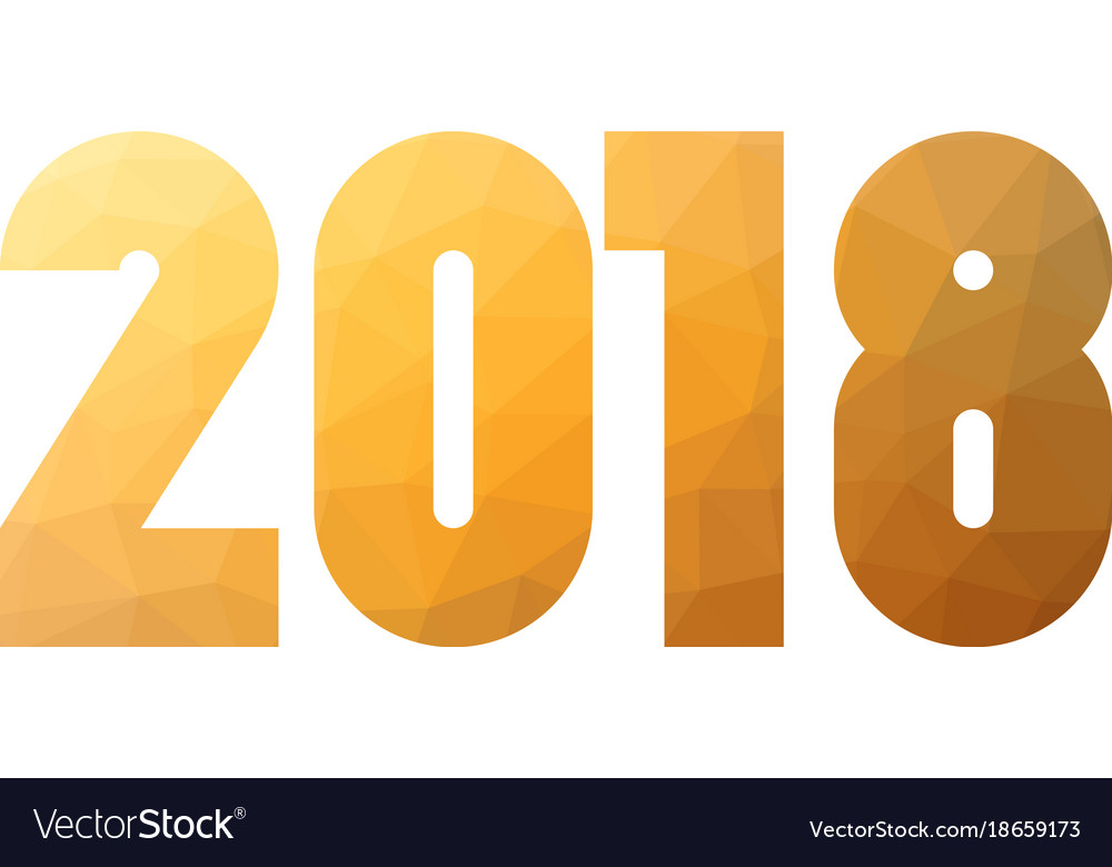Happy new year 2018 gold lowpoly mosaic label on vector image