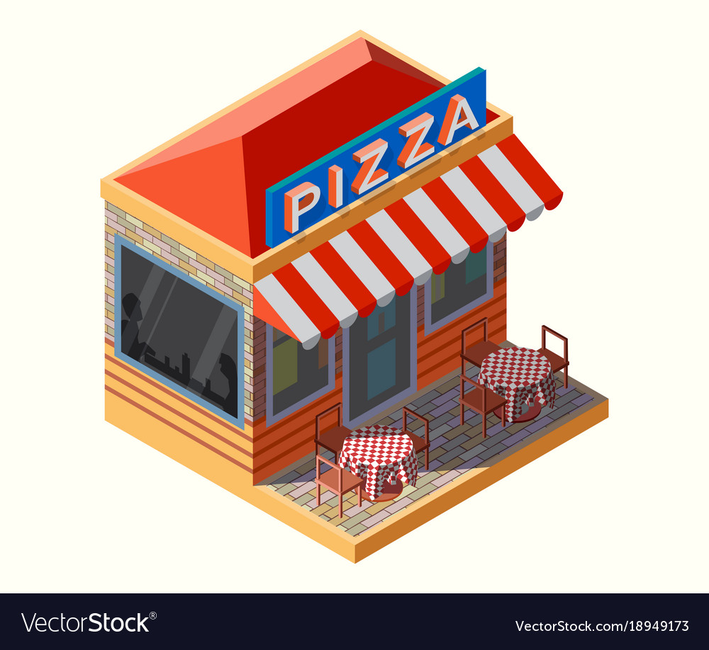 isometric of a pizza place royalty free vector image