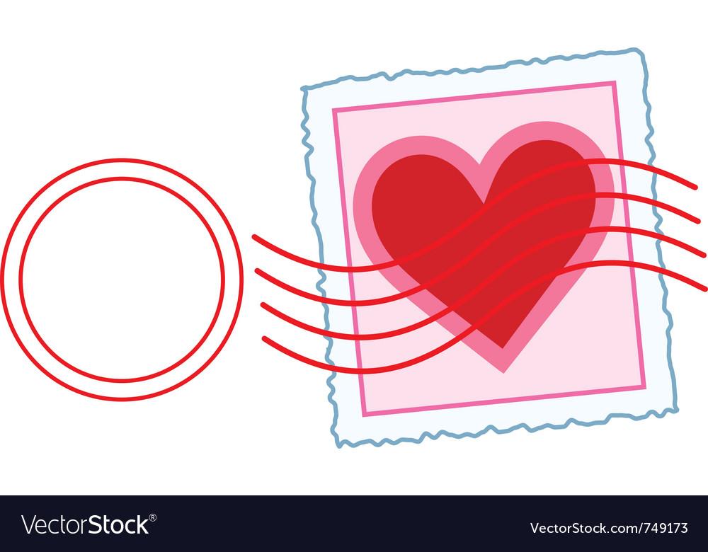 Love letter stamp vector image
