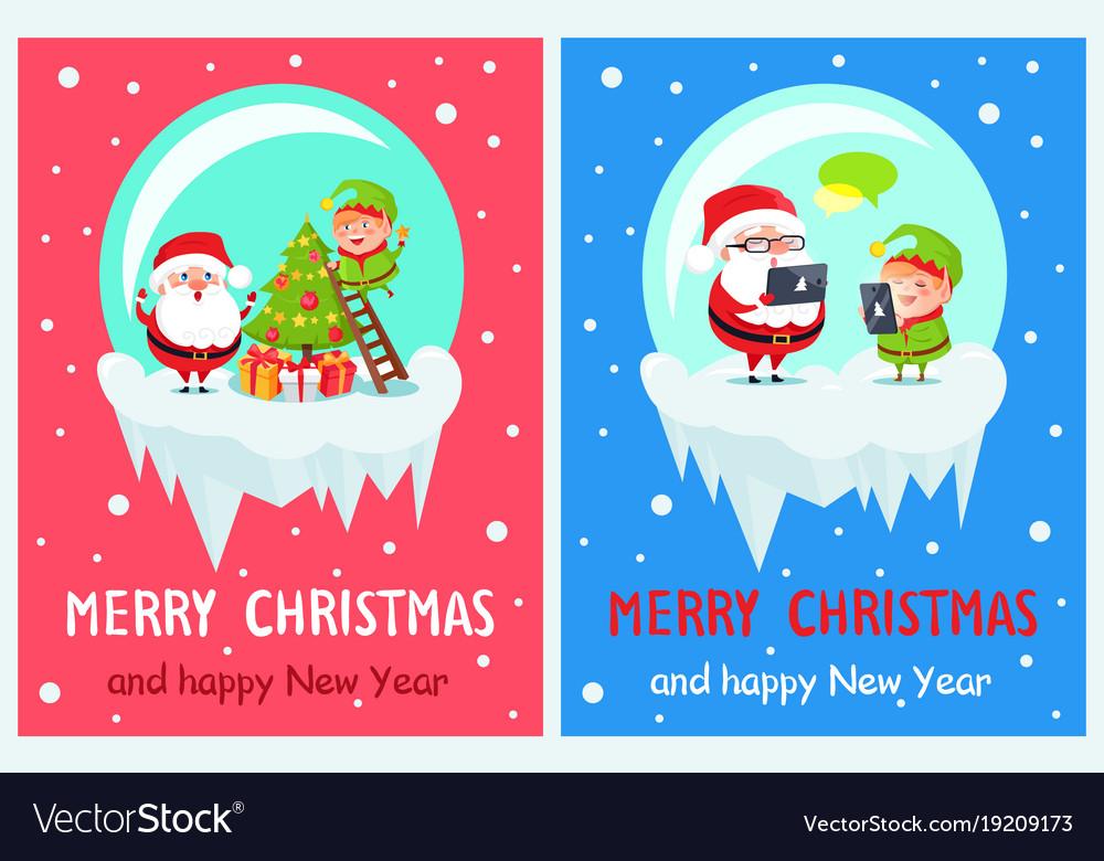 merry christmas elf on ladder vector image - Merry Christmas Elf