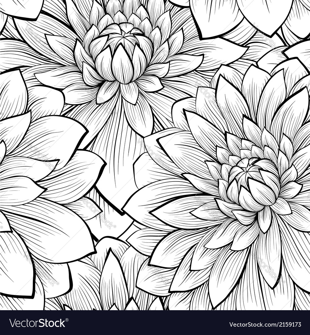 Seamless background with black and white flowers vector image mightylinksfo