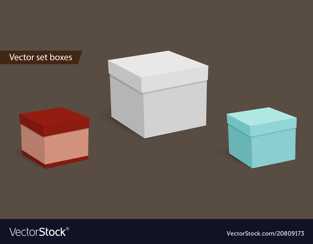 Square empty boxes for gifts on a dark background