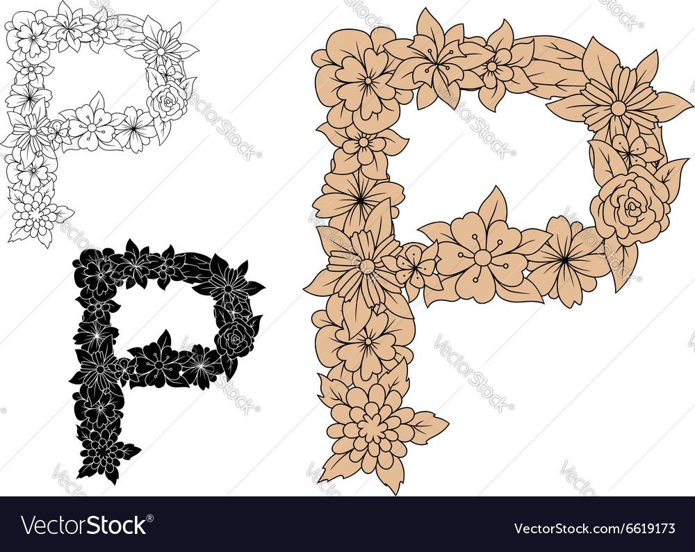Vintage floral uppercase letter P