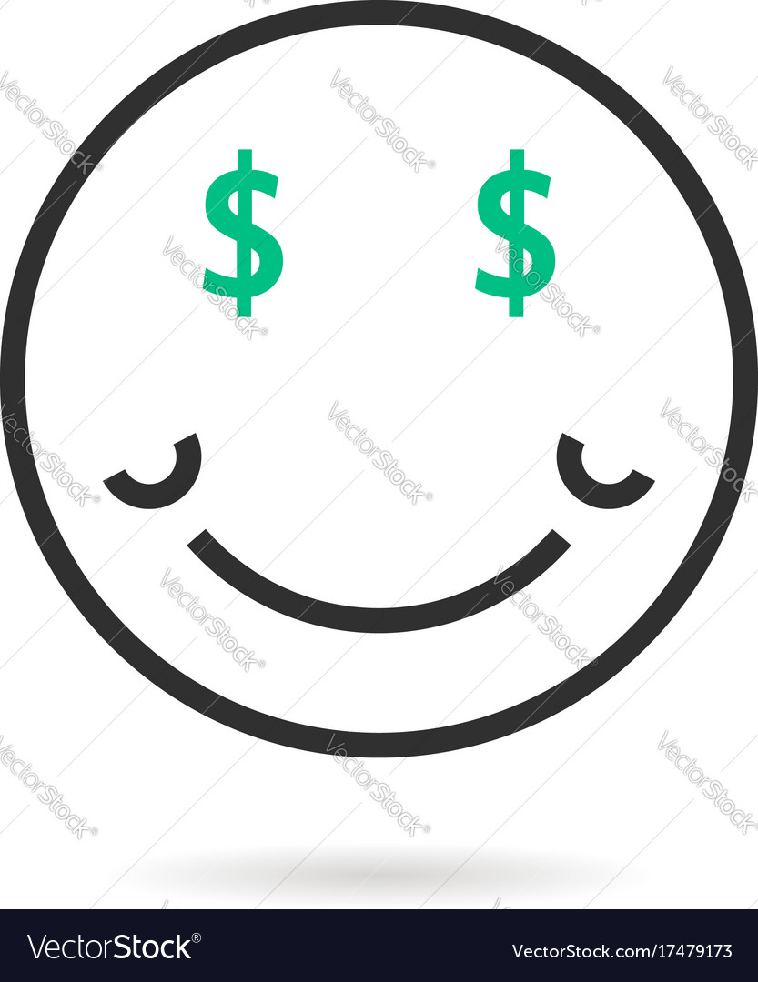 Wealthy thin line emoji icon with shadow