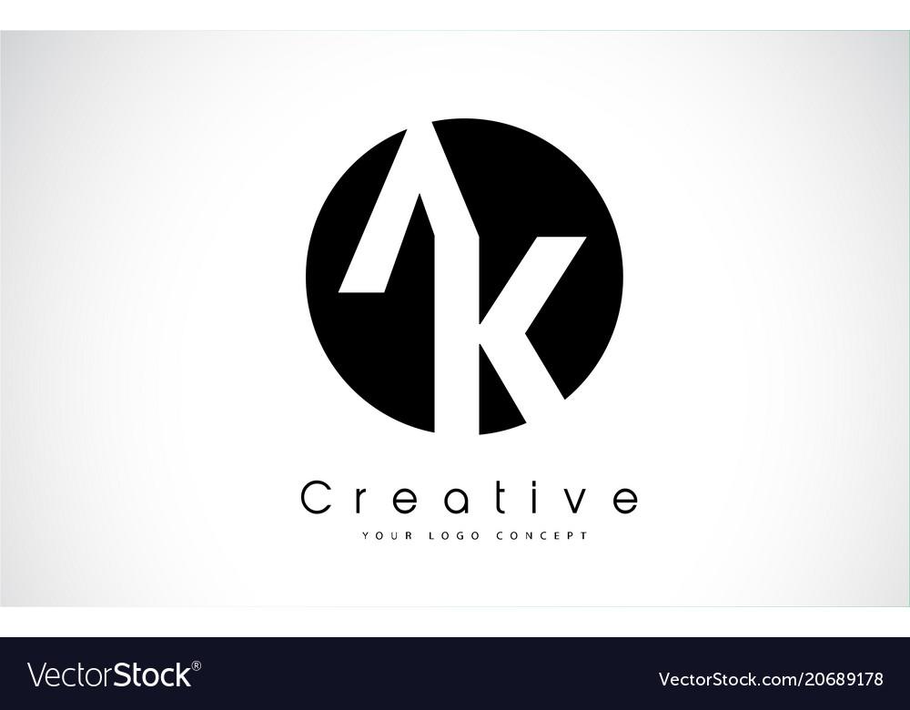 Ak letter logo design inside a black circle vector image