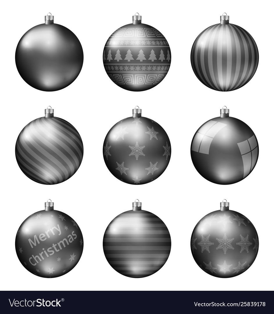 Black Christmas Balls.Black Christmas Balls Isolated On White Background