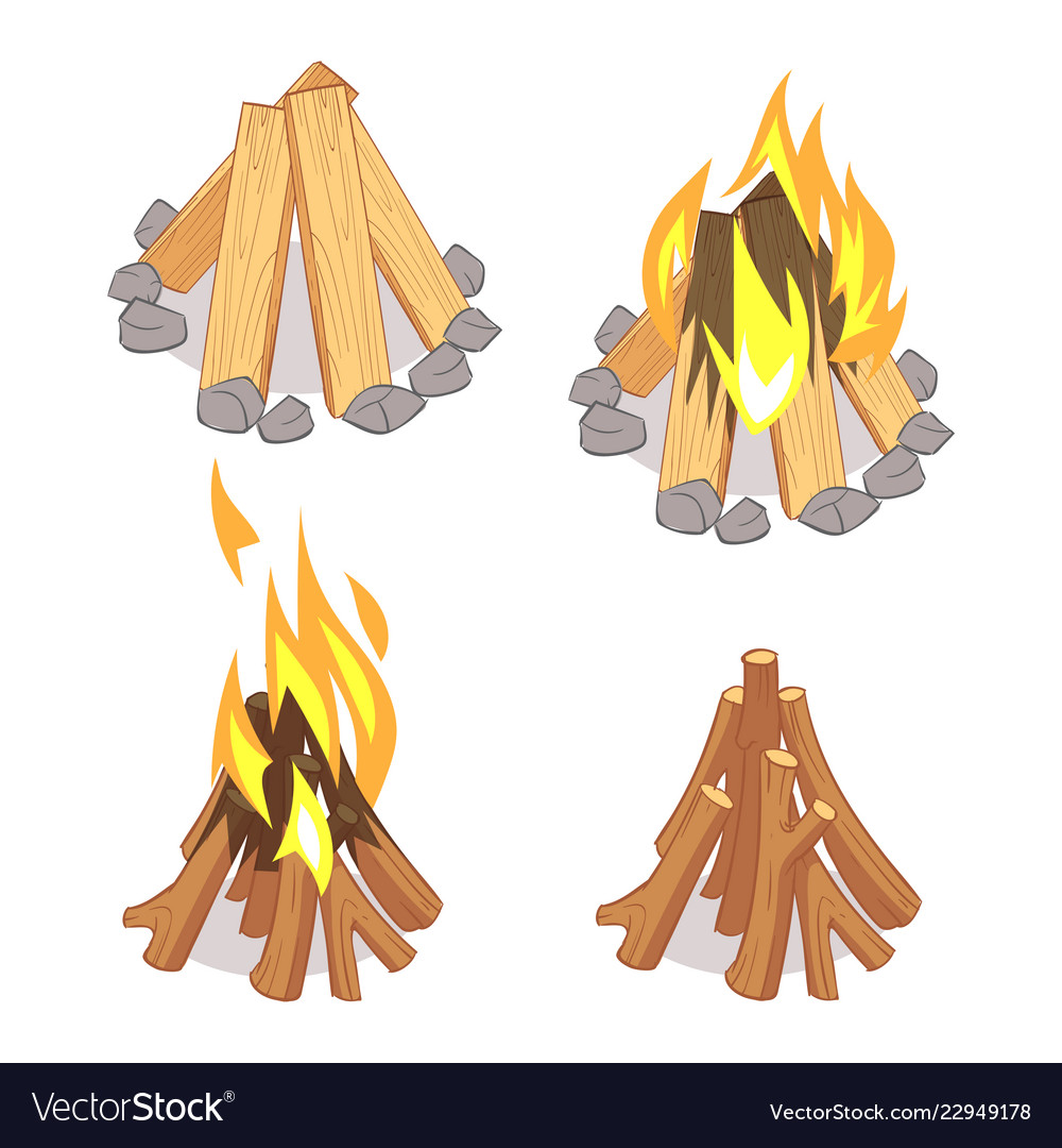 Cartoon character wooden logs and campfire