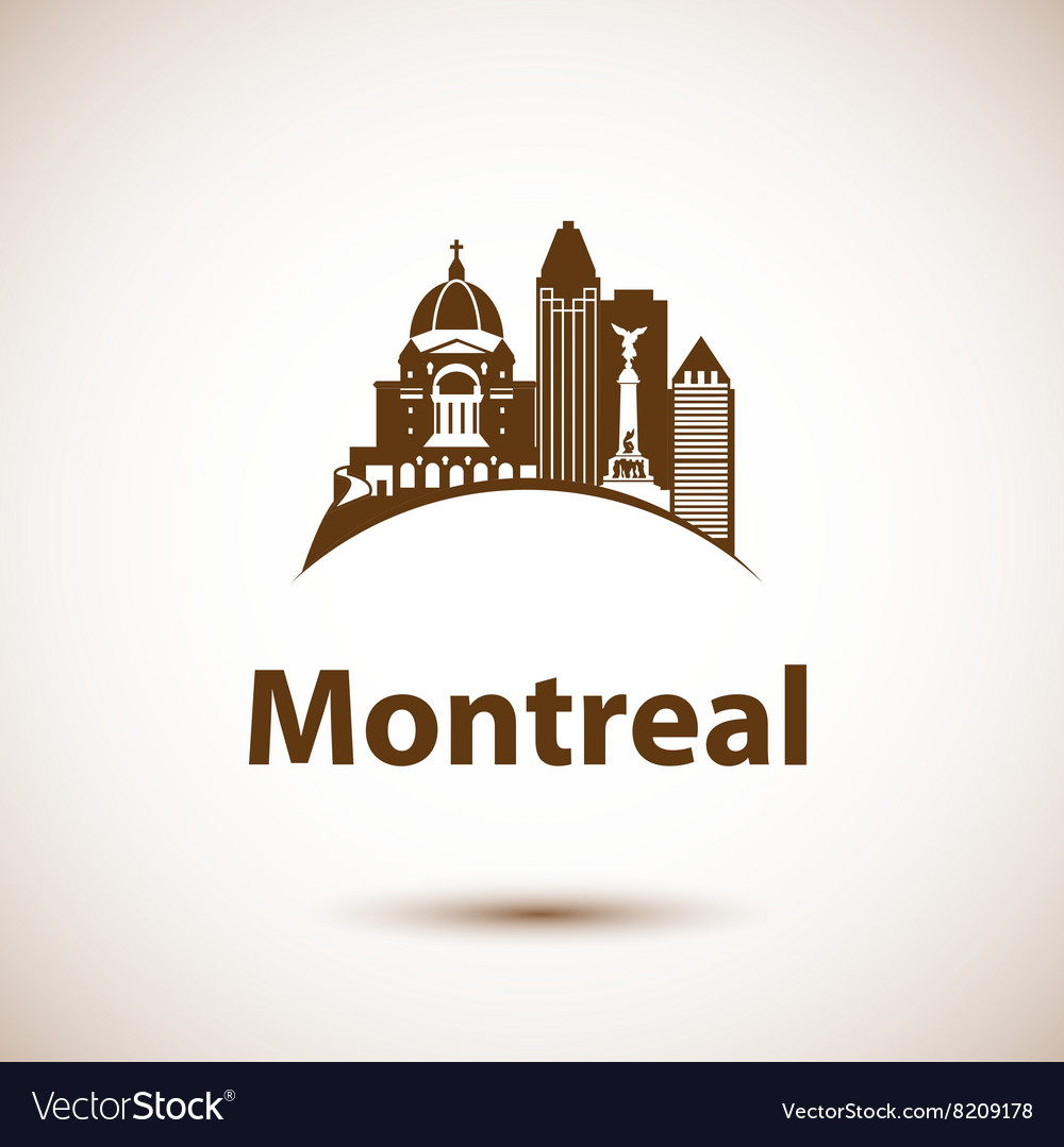 City skyline with landmarks Montreal Quebec vector image