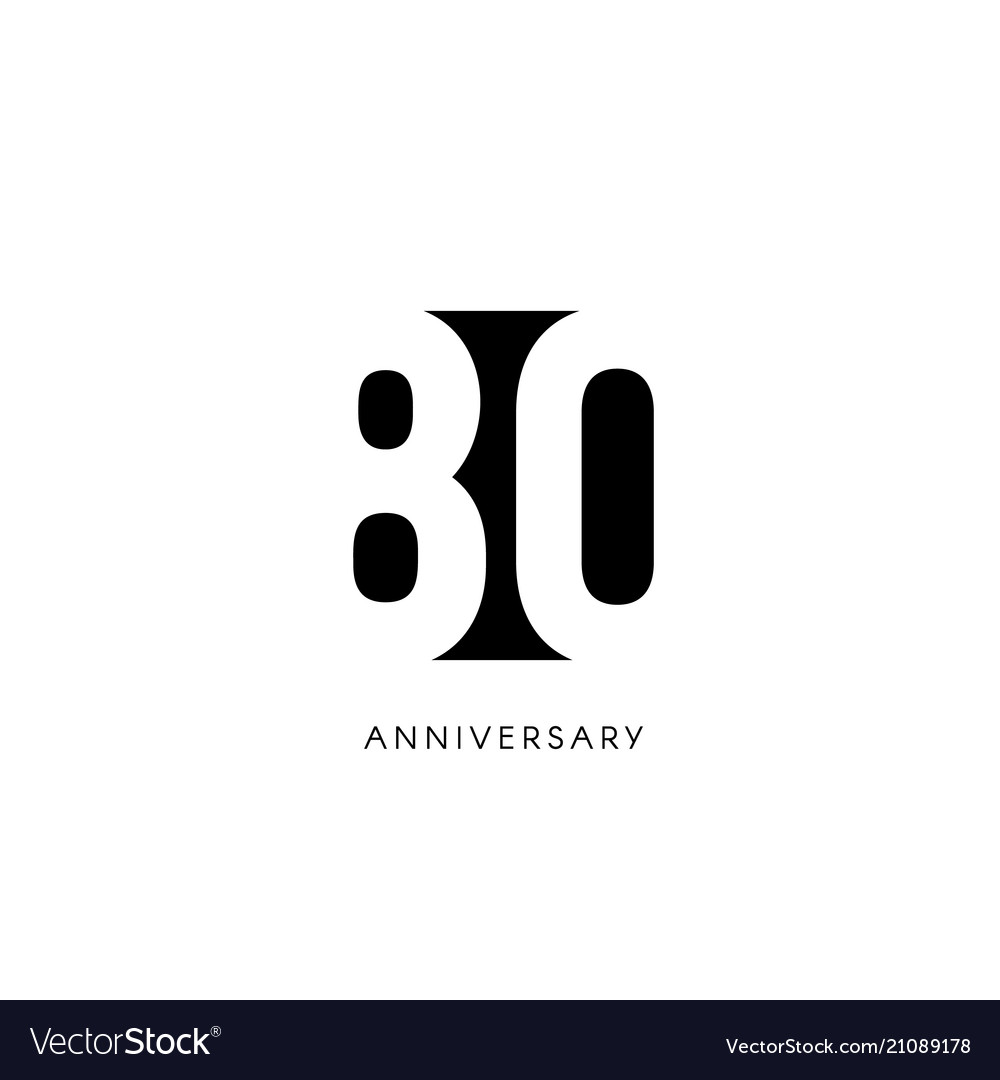 Eighty anniversary minimalistic logo eightieth