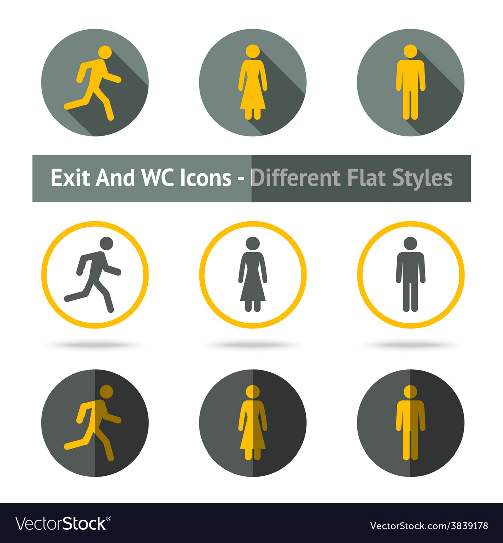 Exit and WC icons set In different flat styles