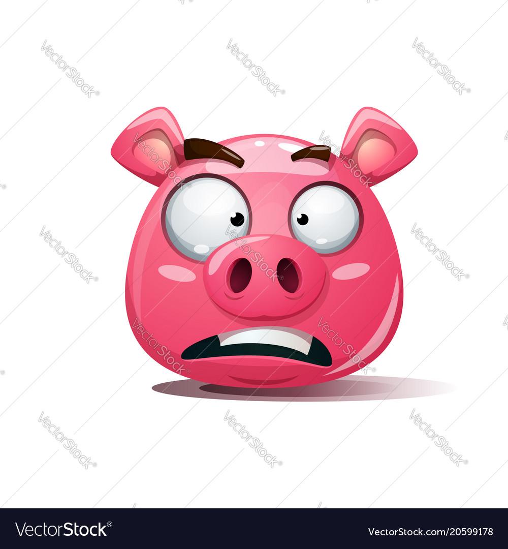 Funny cute crazy pig icon sad smiley symbol of