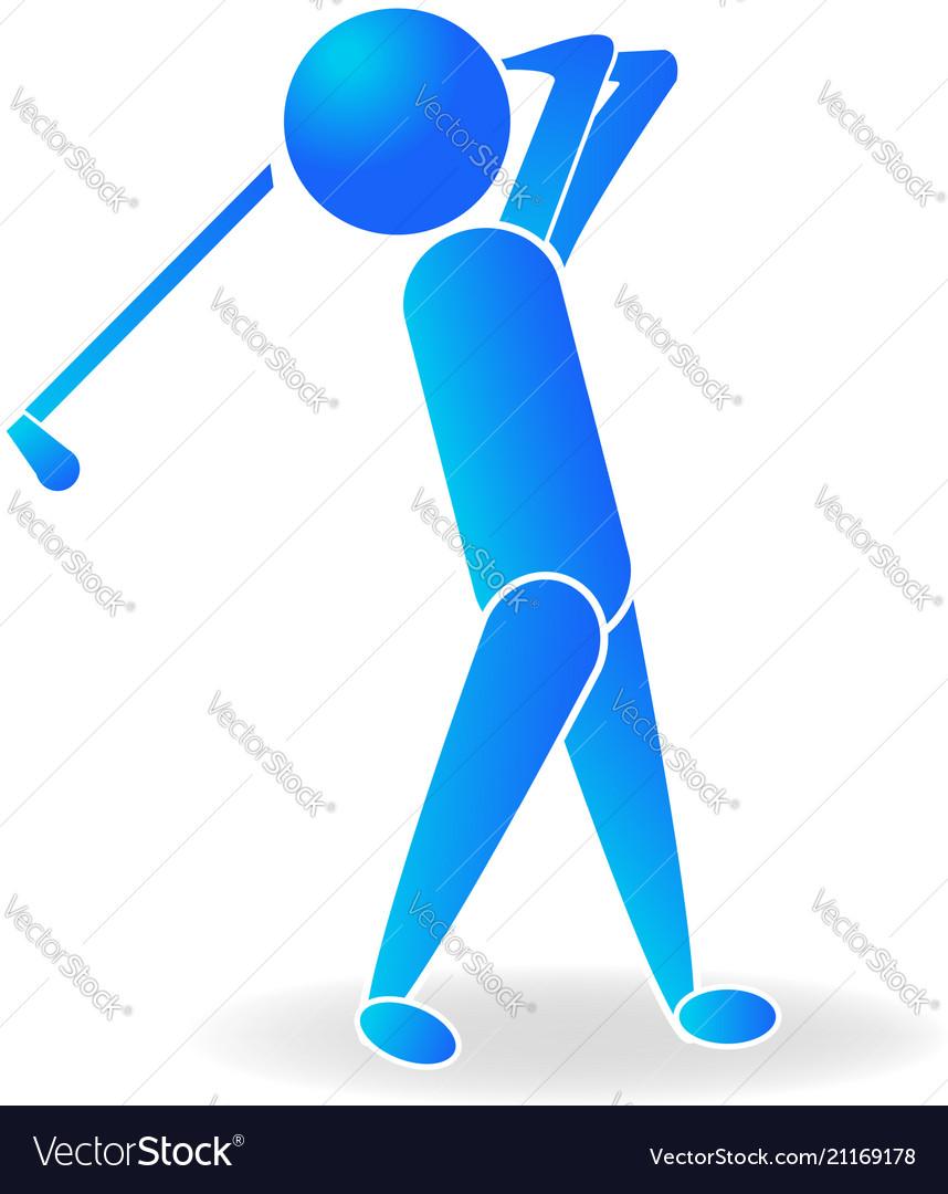 Golf man player logo blue design