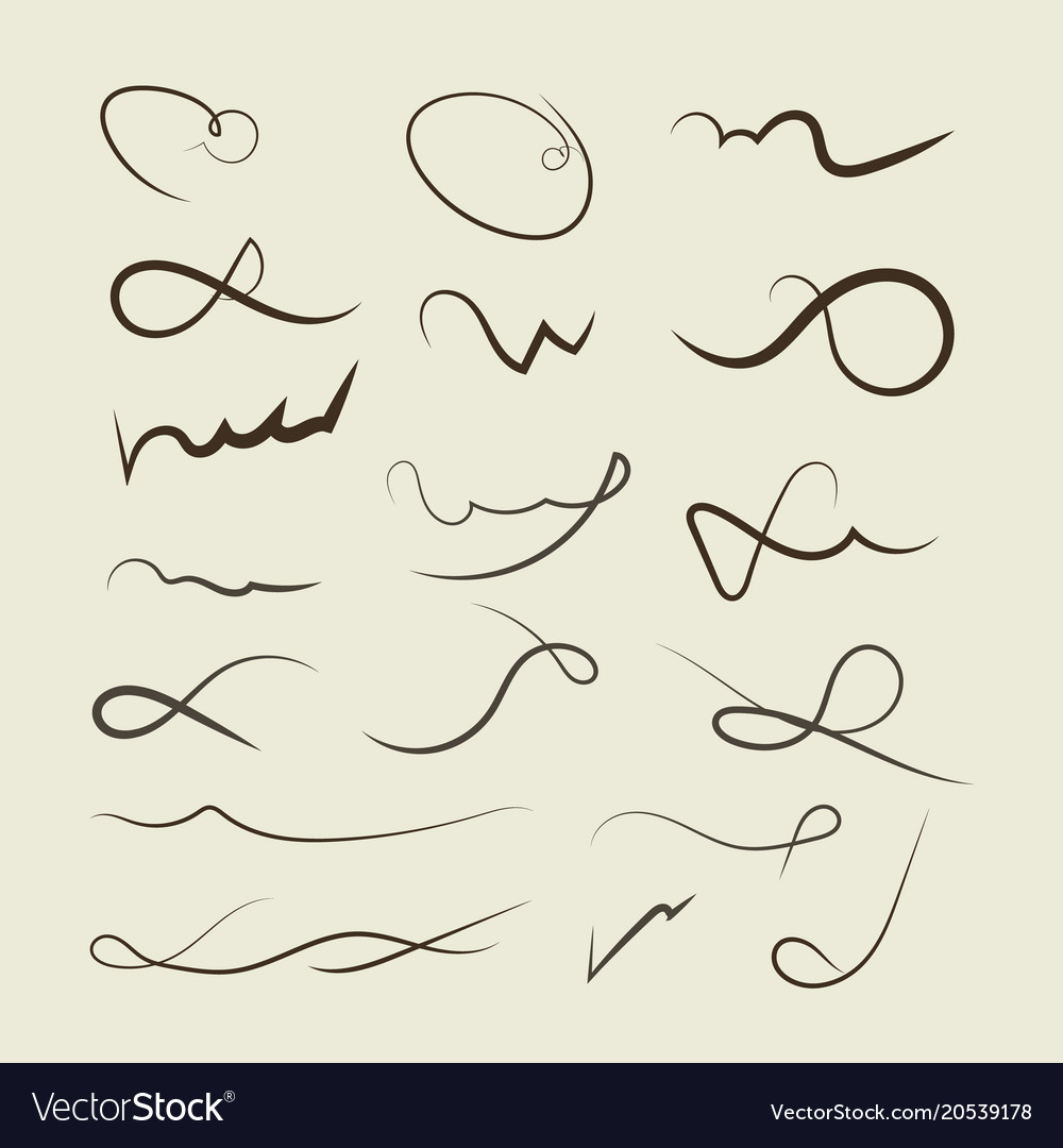 Hand drawn decorative curls swirls