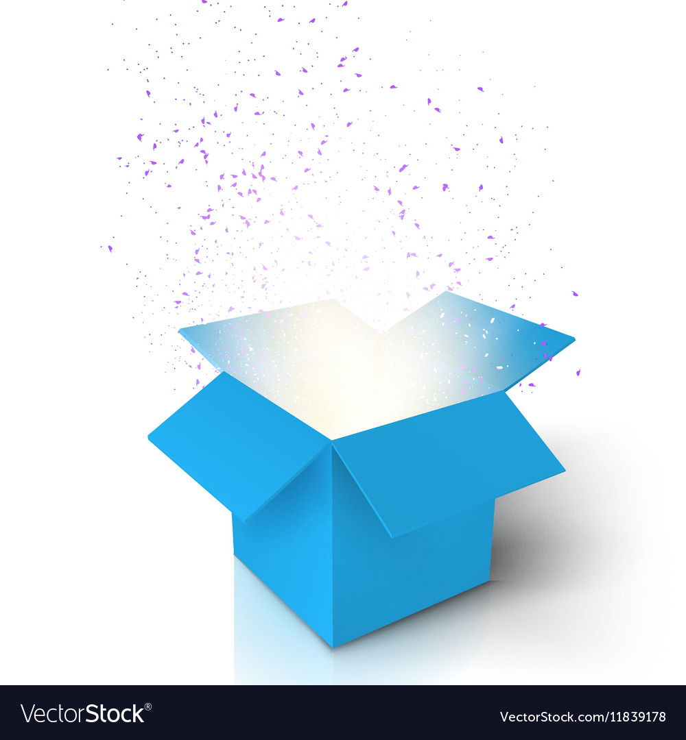 Magic Open Box Magic Gift Box with Light vector image