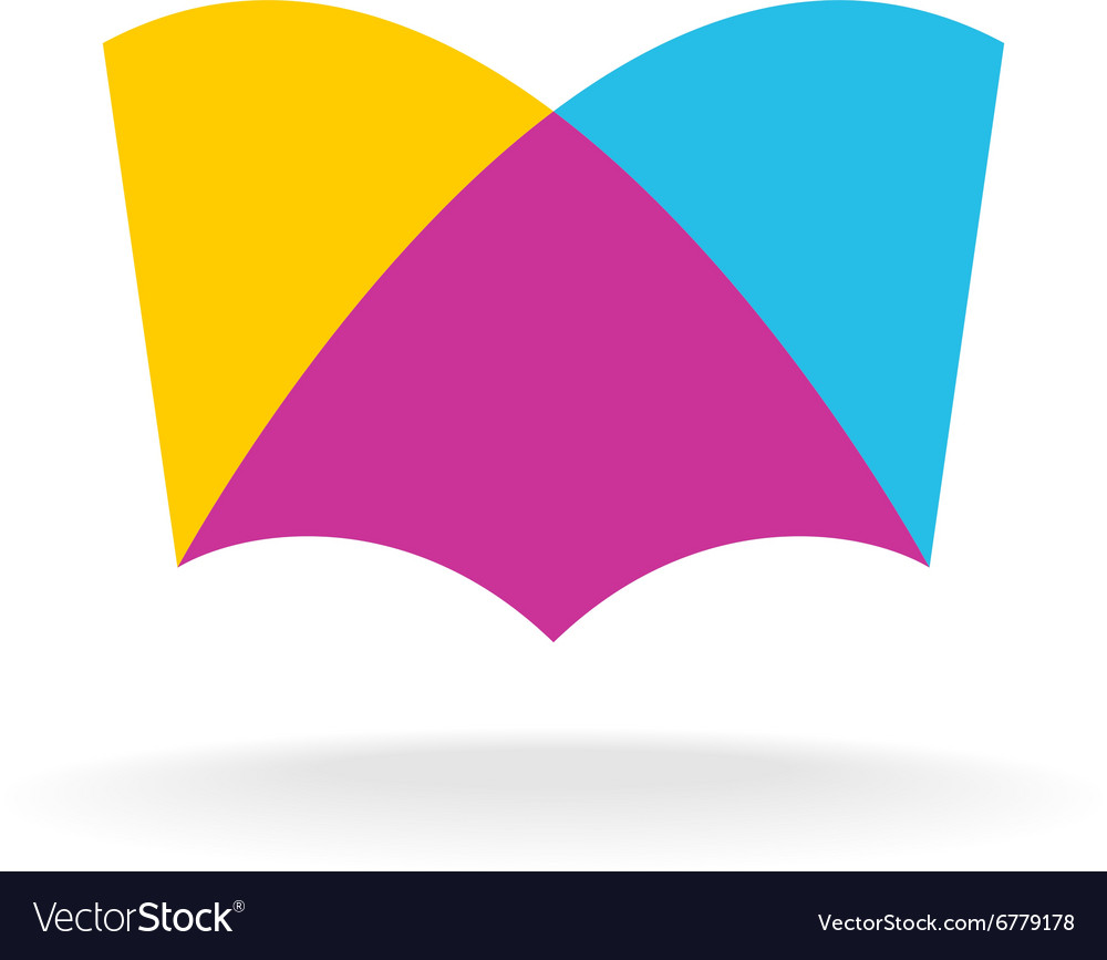 Open book logo Colorful overlay flat style