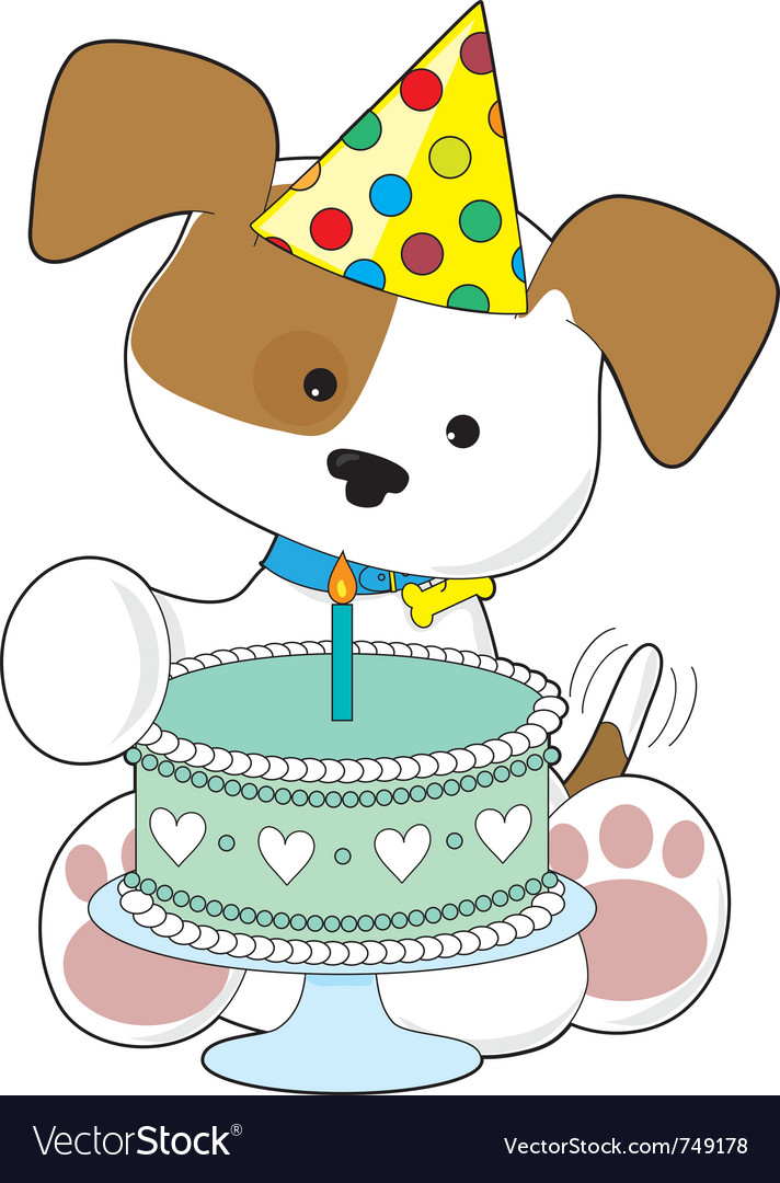 Surprising Puppy Birthday Cake Royalty Free Vector Image Vectorstock Funny Birthday Cards Online Fluifree Goldxyz