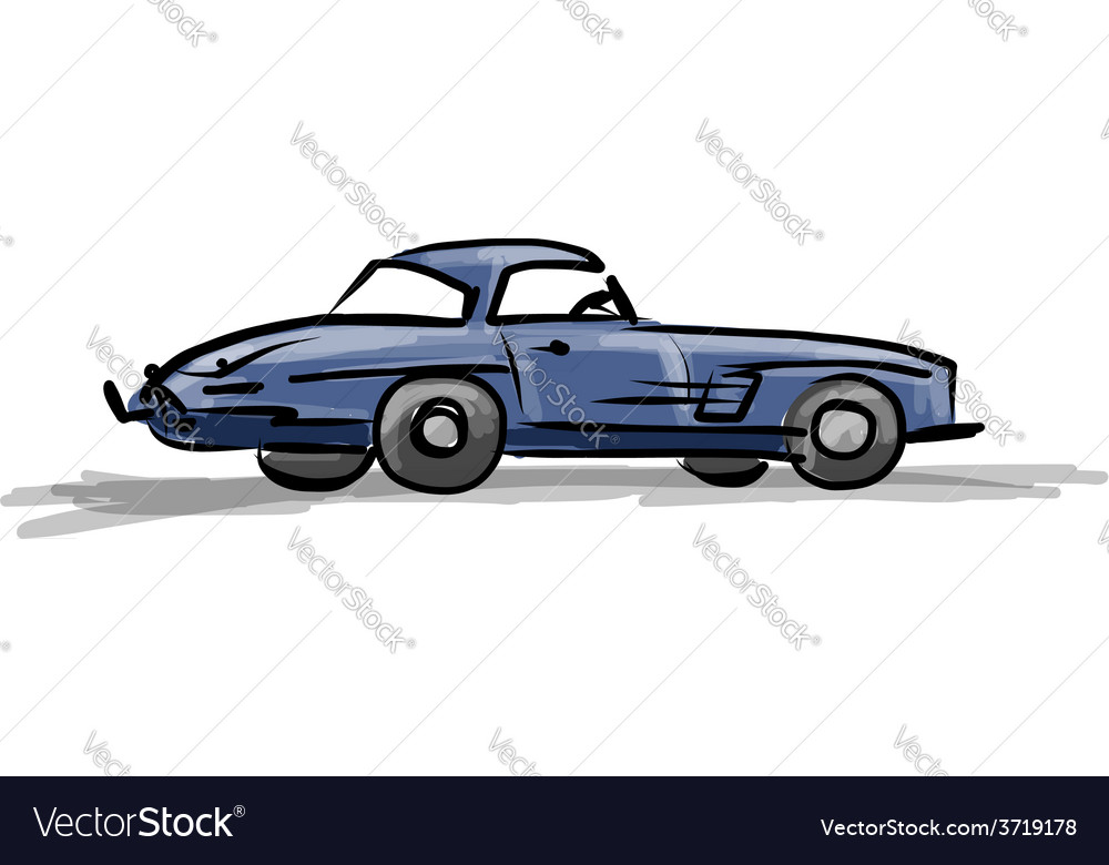 Retro Sport Car Sketch For Your Design Royalty Free Vector