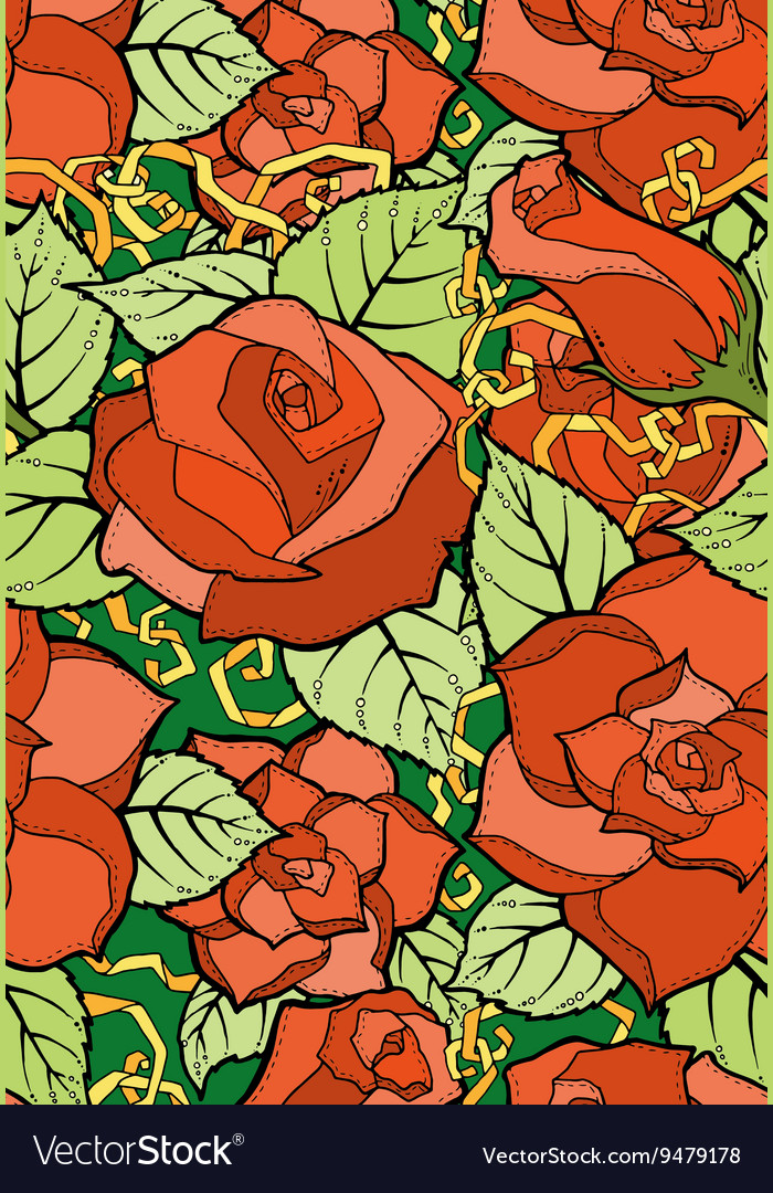 Seamless pattern with stylized flowers Ornate