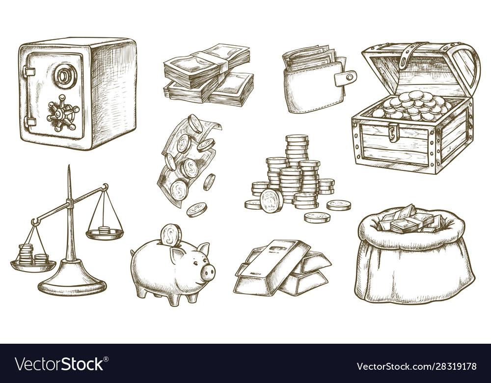 Set sketch money and banknotes wallet
