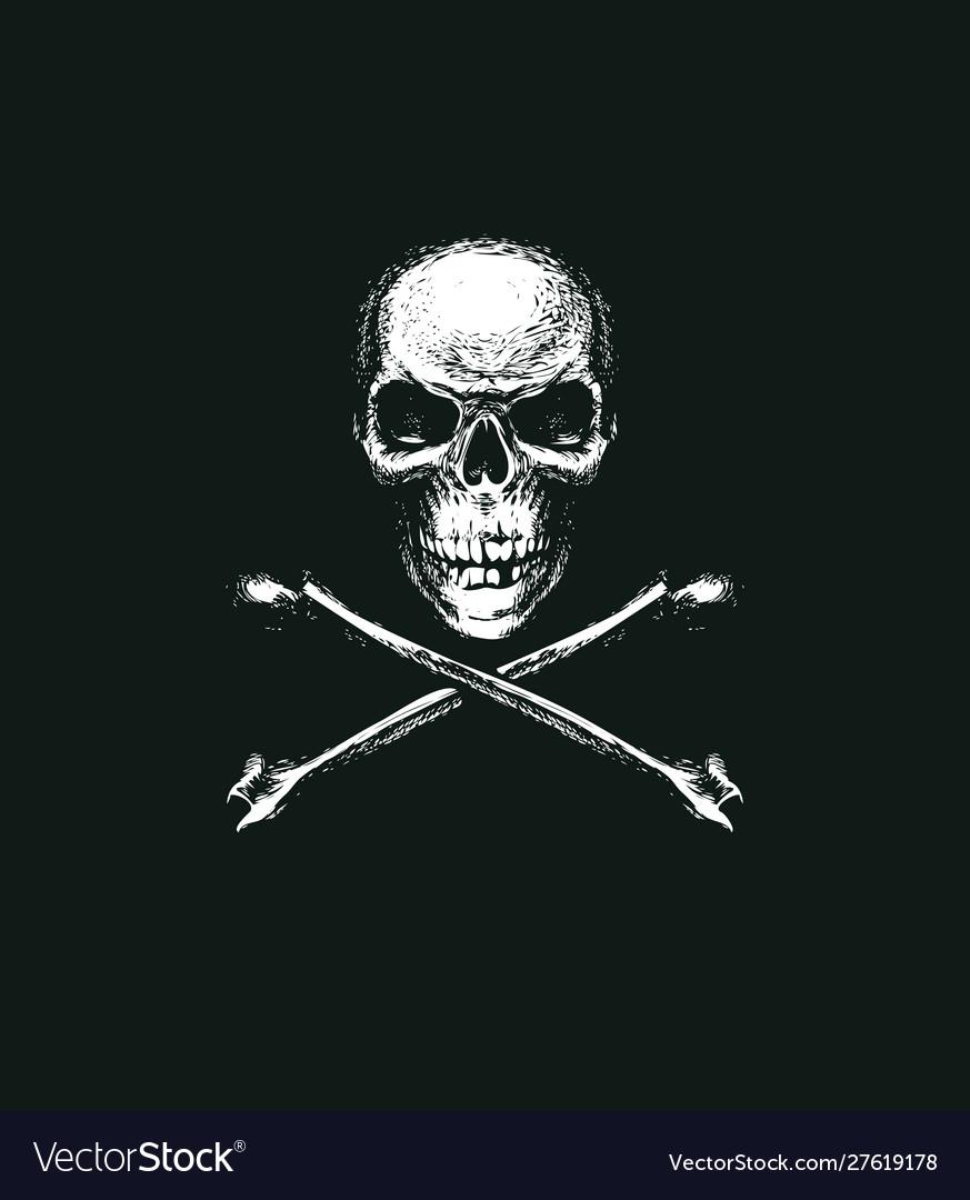 Skull and crossbones pirate symbol or danger sign