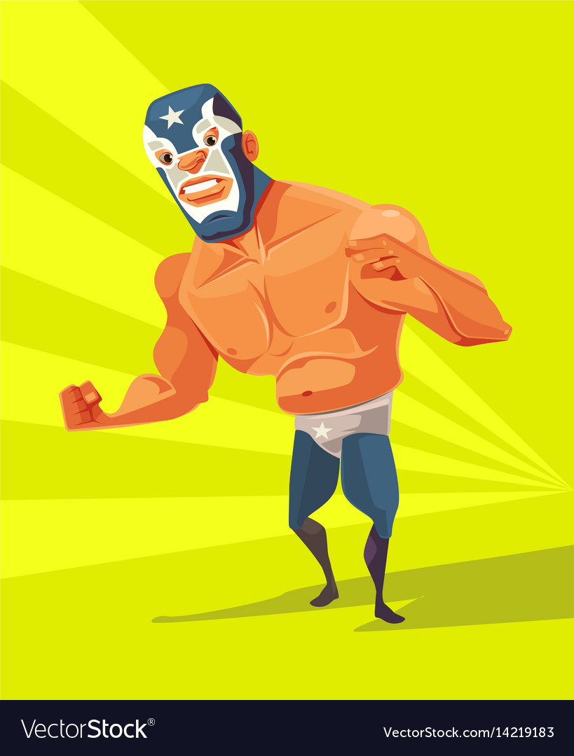 Angry wrestler man character