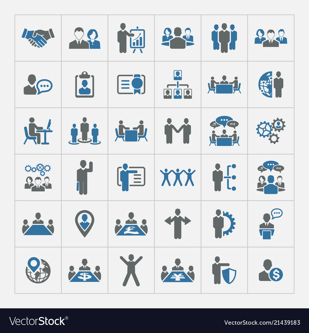 Business management and human resources icon set