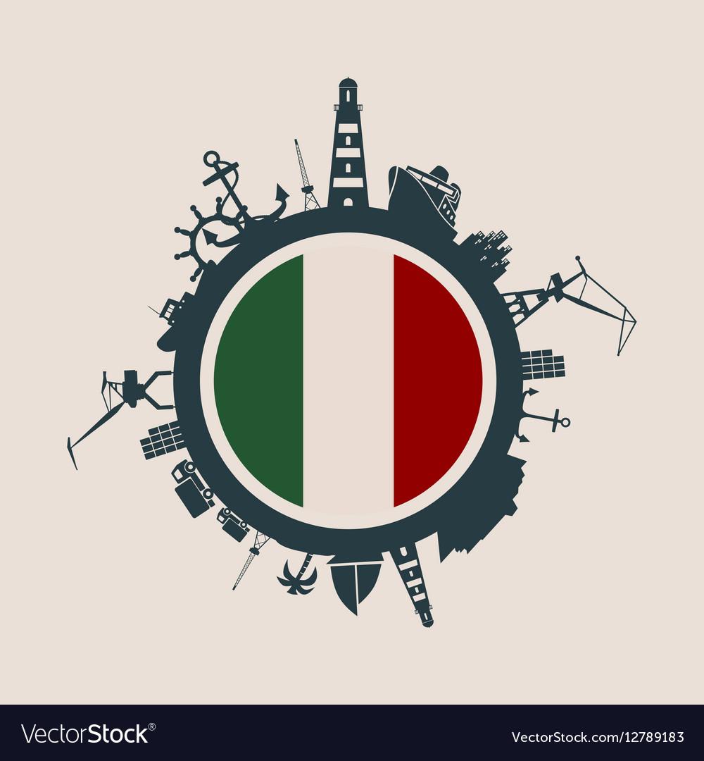 Cargo port relative silhouettes Italy flag