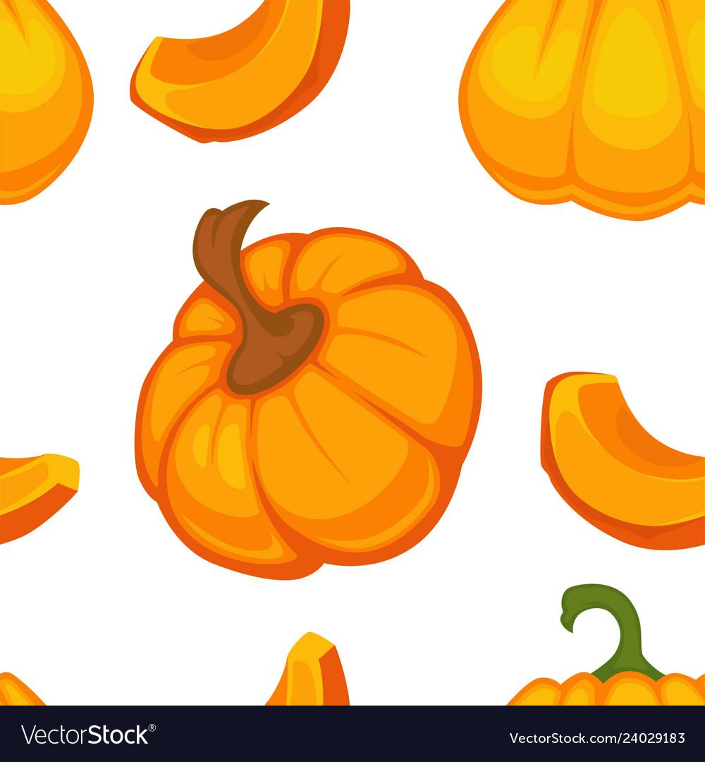 Cartoon pumpkin seamless pattern on white