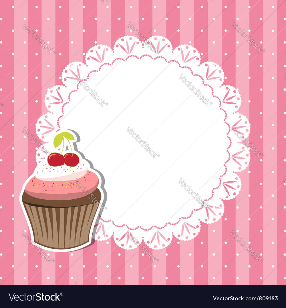 cherry cupcake invitation card royalty free vector image