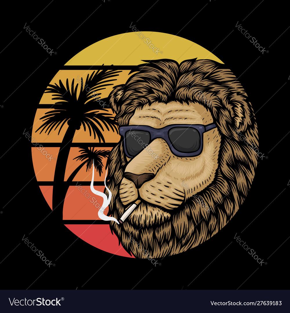 Lion sunset retro