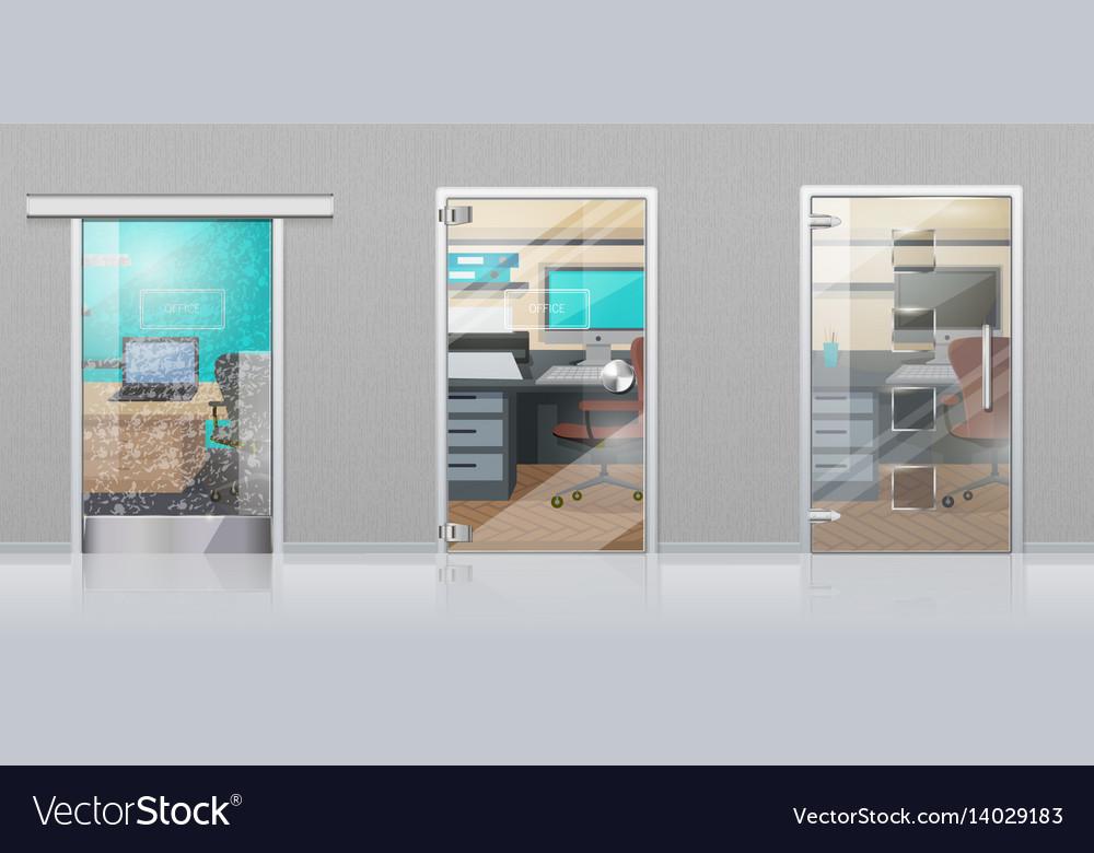 Office interior through glass door flat vector image