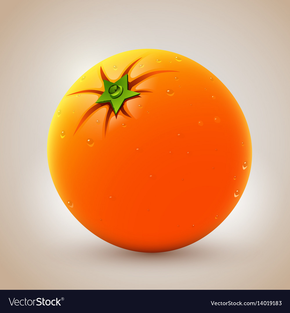 Realistic fresh orange with waterdrops