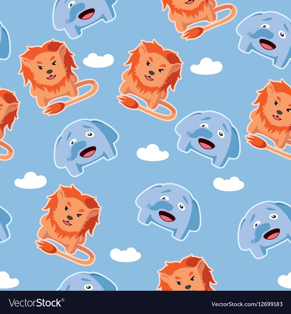 Seamless pattern with lion and elephant