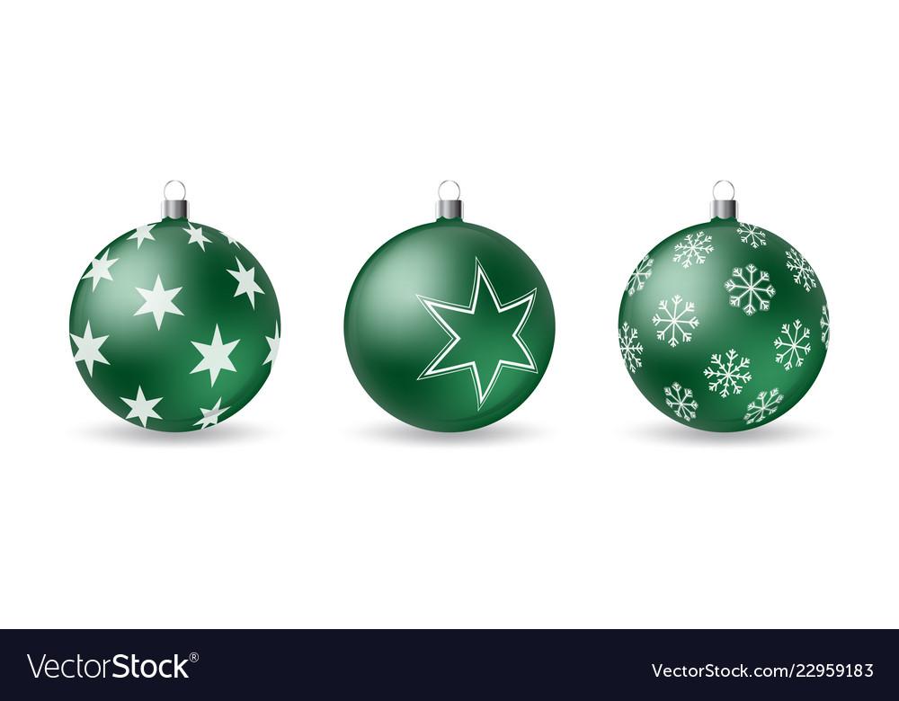 Set 3d christmas balls with decorative ornament